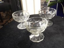 3 X VINTAGE THICK PRESSED GLASS SUNDAE DISHES DIFFERENT DESIGNS